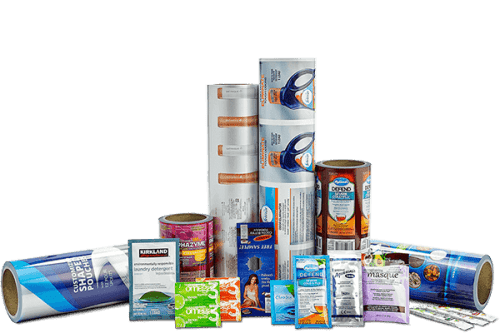 Flexible packaging film and premade pouches